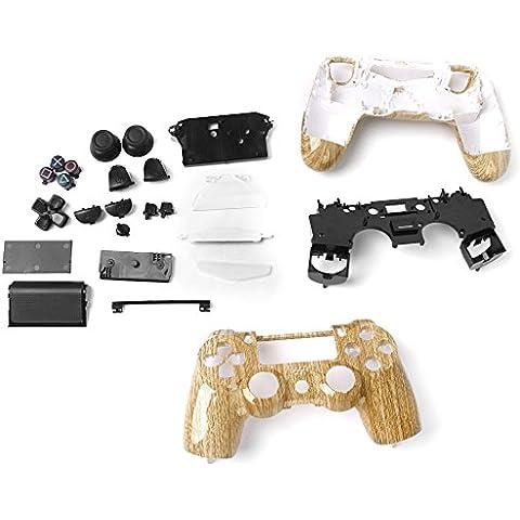 Alloggiamento Pieno Shell Caso Kit Pulsante Per SONY Playstation4 Controller Wireless PS4 - Legno