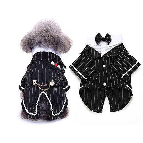 FLAdorepet Gentleman Hund Hemd Welpen Haustier Kleiner Hund Kleidung Fliege Kostüm Katze Hochzeit Hemd formelle Smoking mit schwarzer Krawatte Hund Prince Hochzeit Fliege Anzug -