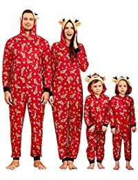 Yaffi Family Matching Pyjamas Christmas Festival Onesie One Piece Xmas Deer Hooded Jumpsuit Sleepwear Loungewear for Daddy Mommy and Me Pjs
