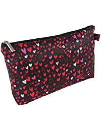 Toiletry Bag Make up Bag Cosmetic Holder or Travel Wash Bags for Women Ladies Girls , Black with heart pattern