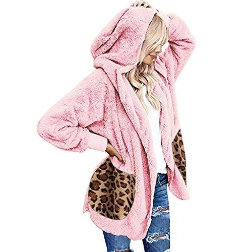 Gatto Casual Leopard Cardigan Cappotti Donne Oversize Open Front Hooded Cardigans Faux Fur Abbigliamento(Rosa,S)