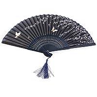 Tinksky Fiore delle donne di seta Fan pieghevole scavato Fan mano di bambù con nappa per regalo festa di nozze (farfalla Sakura)
