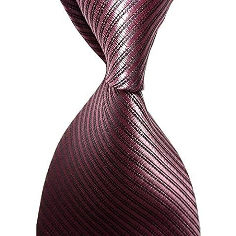 Kissties - Boite à cravate - Rayures - Homme - Marron - Taille Unique