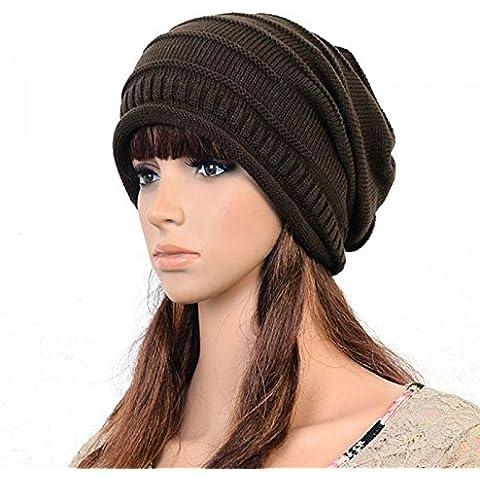 Moda Unisex Uomini Donne inverno cappello Hat larghi Beanie Crochet maglia oversize sci caffè