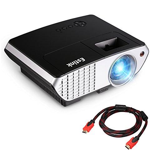Video Beamer 2000 Lumen Mini Beamer 120 Zoll Projektor Bild Heimkino Beamer Unterstützt 720P 1080P USB VGA AV HDMI*2 Multimedia Beamer 800*480 Auflösung für Zuhause Unterhaltung Film Videospiele Fußballspiel