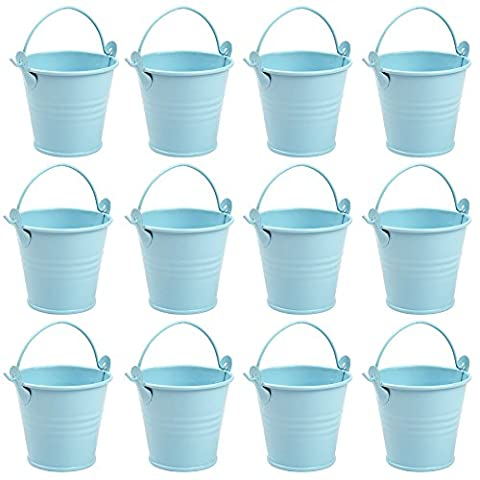 Aytai Set of 12 Small Metal Buckets Mini Favour Candy Boxes Pail Wedding Party Gifts Souvenirs Bucket Pails (Blue)