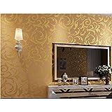 WINOMO Papier mural de luxe 3d Relief Feature Papier peint Rouleau Décoration (doré)