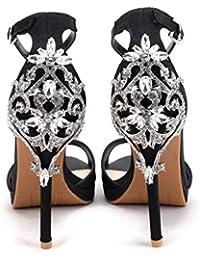 SZXC Frauen Sandalen Rhinestones Hochzeit Braut Abend Partei Kristall Glitzer herrlichen High Heels Schuhe