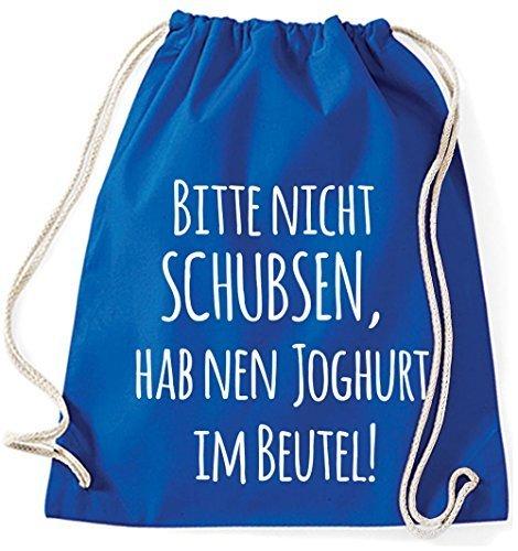 Mein Zwergenland Jutebeutel Bitte nicht schubsen, hab nen Joghurt im Beutel, 12L, Fuchsia Royal