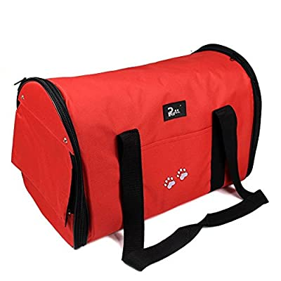 Nestling? Red Oxford Cloth Pet Carrier Bag Dog Cat Bag Foldable Pet Travel Carrier Ideal for Puppy, Cat, Rabbit and Other Small Animals