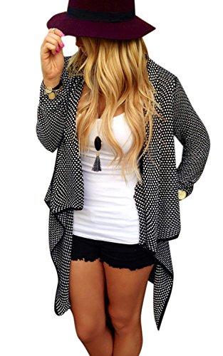 Minetom Cardigan A Maniche Lunghe Da Donna Loose Casual Jacket Elegante In Maglia Irregolare Maglione Sweatercoat ( Nero IT 38 )
