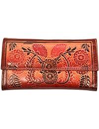 ZINT Shantiniketan Pure Leather Floral Design Multi-Colour Women's Wallet Clutch Purse