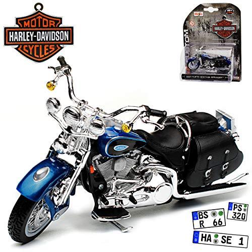 HarIey Davdson FLSTS Heritage Springer Blau 2001 1/24 Maisto Modell Motorrad mit individiuellem Wunschkennzeichen
