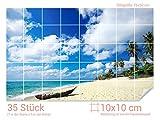 Graz Design 761007_10x10_50 Fliesenaufkleber Strand mit Meer-Blick | Bad-Fliesen mit Fliesenbildern überkleben (Fliesenmaß: 10x10cm (BxH)//Bild: 75x50cm (BxH))