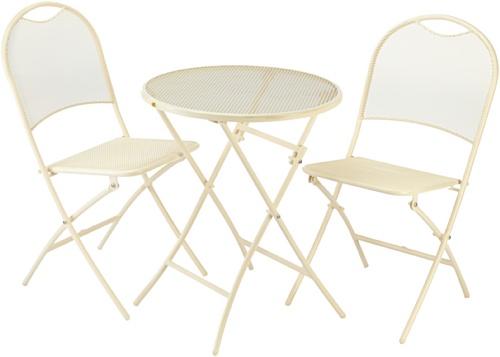 Consul Garden Balkon-Set'Mocca', bestehend aus, 2x Klappstuhl +1x Tisch, Creme, 45,5x45,5x86 cm ;...