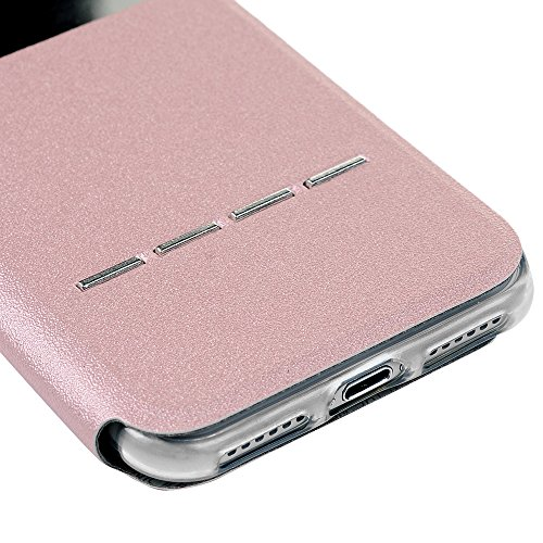 iPhone 7 Hülle Case, Kasos iPhone 7 Schutzhülle Standfunktion PU Leder Fenster Tasche Handyhülle Ledercase Etui Book Cover Schale in Blau Rose Gold