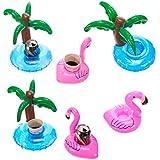 Cazul Goods Aufblasbarer Pool Getränke Halter - 3 Stück Flamingo und 3 Stück Palme Design (6er Set)