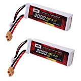 Jian Ya Na 3S 3000mAh 11.1V 3.0Ah Lipo batterie de remplacement 25C XT60 Fiche pour DJI Phantom 1 FC40 F450 F550 FPV 2 Packs