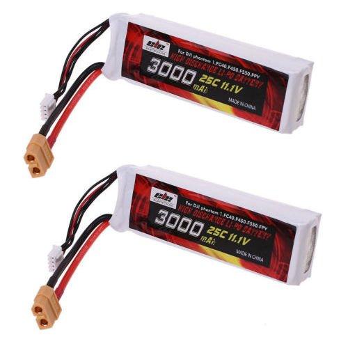 Jian Ya Na 3S 3000mAh 11.1V 3.0Ah Lipo Ersatz-Akku 25C XT60 Stecker für DJI Phantom 1 FC40 F450 F550 FPV 2 Packungen -