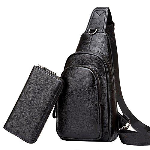 Borse Yy.f Uomo Borsa Di Pelle Del Torace Borsa A Tracolla Degli Uomini Messenger Bag Di Tendenza Primo Strato Di Pelle Casuale Zaino Diagonale 3 Colori Black