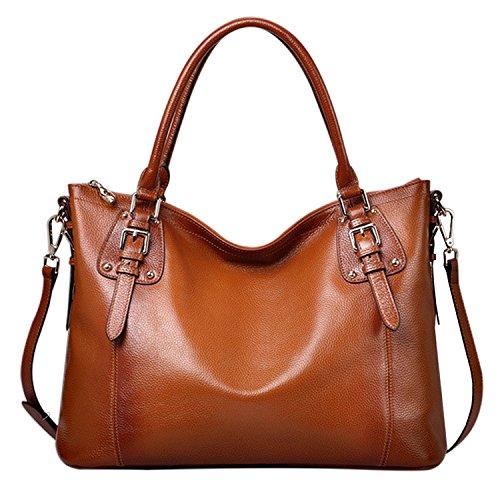 Azbro Women's Elegant Genuine Leather Shoulder Bags Top-Handle Handbags, Brown S Brown