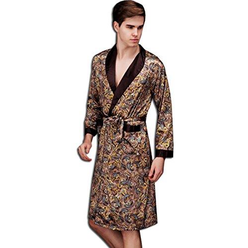 Herren Jungen Satin Morgenmantel Schlafanzug Schlafkleid Nachtwäsche Kimono Bademantel Kaffee