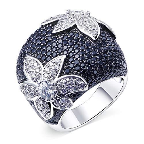 LILIMO Ringe Vintage Schmuck Black Gold Platin Hochzeit Gotischen Stil Blumen Ring Zircon Weibliche Schwarze Kupferring Größe 5-10,Silver,5 (Gelbe 14kt Gold Engagement Ring)