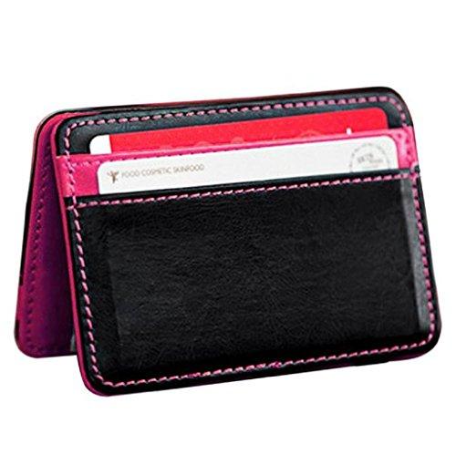 Vovotrade® Mini neutre magique bifold cuir portefeuille porte-cartes porte-monnaie porte-monnaie Clip (Rose vif)