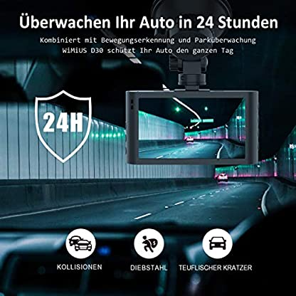 Dashcam-WiMiUS-1080P-Full-HD-Autokamera-vorne-hinten-170-Weitwinkelobjektiv-Loop-Aufnahme-DVR-Fahren-Rekorder-mit-WDR-Bewegungserkennung-Parkmonitoritor-Nachtsicht-und-G-Sensor
