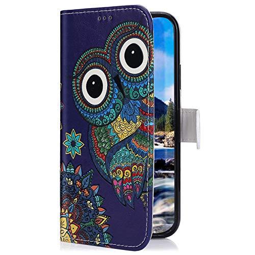 Uposao Kompatibel mit Samsung Galaxy M30 Hülle mit Bunt Muster Motiv Brieftasche Handyhülle Leder Schutzhülle Klappbar Wallet Tasche Flip Case Ständer Ledertasche Magnet,Eule Blumen