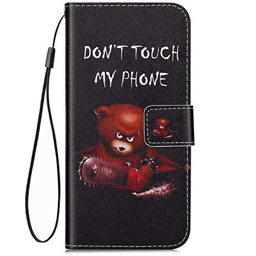 Qjuegad Kompatibel mit Handyhülle Huawei P30 Pro Hülle Leder Handytasche Ledertasche Flip Wallet Cover Case Brieftasche klapphülle Etui Schutzhülle Huelle Tasche,Bär -