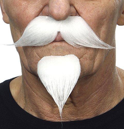 Mustaches Selbstklebende Neuheit Colonel Sunders Fälscher Lenker mit Einem Ziegenbart für Erwachsene Weißer - Spitzbart Und Schnurrbart Kostüm