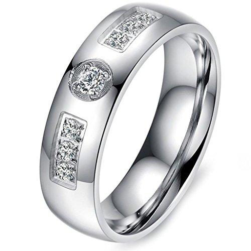 Aooaz Schmuck Unisex Ring,Intarsien CZ Klassische Edelstahl Ring Silber Gold