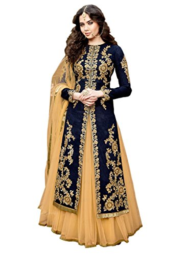 Caffoy Cloth Company Women's Dark Blue Color Bangalori Silk Heavy Embroidered Bollywood Designer Anarkali Salwar Suit For Wedding.