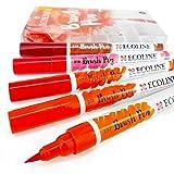Royal Talens – Bolígrafos de pintura líquida de acuarela ecológica – Juego de 5 en cartera de plástico – rojo