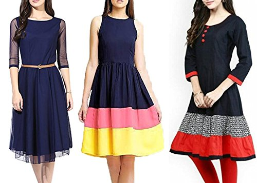 Jashvi Creation Women\'s Pure Cotton Unstitched Anarkali Kurti (Combo Pack of 3)