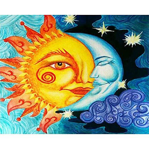 CoorArt Malen nach Zahlen Erwachsene Kinder, DIY Ölgemälde, Magische Sonne Mond - 40x50cm Ohne Rahmen