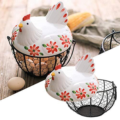 SH-Flying Eisenregal Aufbewahrungsbox, Weiß Keramik Farm Chicken Top Griffe Metall Mesh Draht Eier Gemüse Aufbewahrungskorb