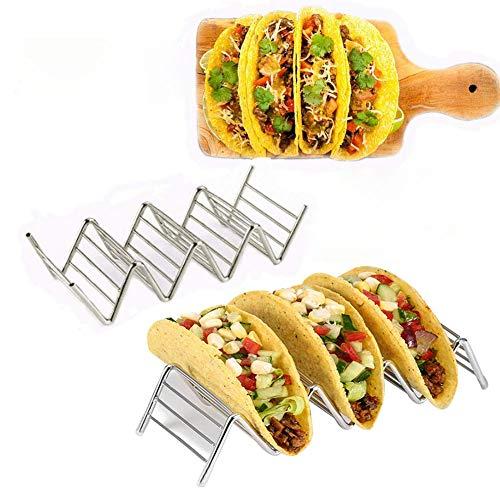 IsEasy Taco Halter Ständer aus Edelstahl, Mexican Essen Ständer für Hard/Soft Tacos Mexikanische Nahrungsmittel (3 Stack Holder)
