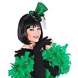 NET TOYS Mini Zylinder Burlesque Minihut am Bügel mit Schleier grün Tänzerin Miniatur Hut Can Can Girl Minizylinder Glitzer Zylinderhut Fascinator Kostüm Accessoire