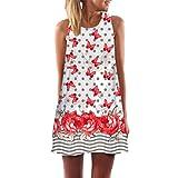 TEBAISE 2018 Heißer Verkauf Vintage Boho Frauen Lose Sommer Strand Sunwear Sleeveless 3D Blumendruck Bohe Tank Minikleid Gerade Rock(Rot,EU-46/CN-XL)