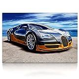 Bugatti Veyron - Leinwand Bild auf Keilrahmen Wandbild Auto 04.4101 (80 x 60 cm)