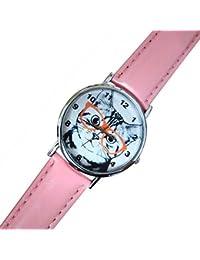Reloj de mujer con gato y gafas, Idea regalo correa blanco rosa rosa