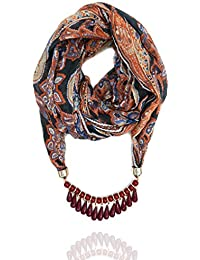 Aashya Mayro Brown Abstract Print, Soft Cotton, Pendant Necklace Summer Scarf/Stole/Scarves/Muffler Wrap For Girls...