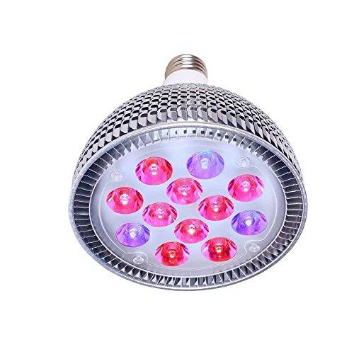 Punson LED 24W vegetali luci a LED, E27, per lampadine per luci da serra per coltivazione idroponica, 24w, e27, 24.0 wattsW