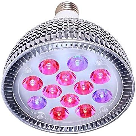 punson LED 24W LED Planta Crece Luces, E27Bombillas para interior jardín invernadero hidropónico Lámparas, 24w, e27, 24.0 wattsW