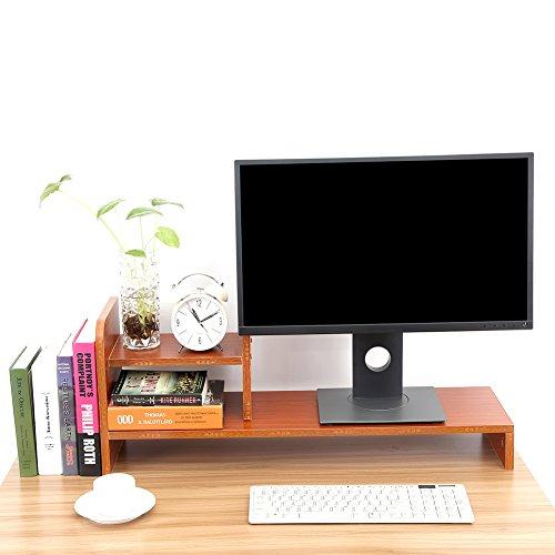 Zerone Holz Monitorständer, Multifunktionalem überwachen Riser feuchtigkeitsfesten Schreibtisch Veranstalter mit 2 Ablage für Laptop LCD TV 30,9