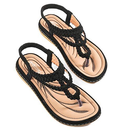 Chaussures Été Femmes, gracosy Sandales Plates Été à Talons Plats Compensés Tongs Claquettes avec Semelle Épaisse Confortable Style Tresse 2018 pour Plage Ville,2019 Noir,37 EU