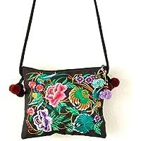 bf98748ffb Changnoi Black Garden Handmade Pom Pom Boho Crossbody Sling Purse with Hmong  Embroidered Fabric
