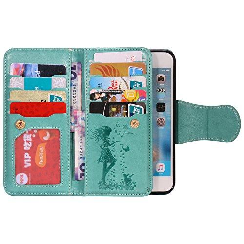 BONROY® Schutzhülle / Cover / Handyhülle / Etui für iPhone 6 6S (4,7 Zoll) Hülle,PU Leder Schutzhülle Bookstyle Folio Handyhülle Flip Cover Schale Tasche Brieftasche Bumper mit Kartenfächer und Magnet Frau und Katze-grün